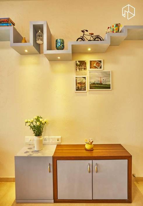Shoe unit with book case:  Artwork by iSTUDIO Architecture