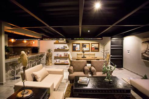 Casa Bunker : Salas de estilo moderno por Con Contenedores S.A. de C.V.