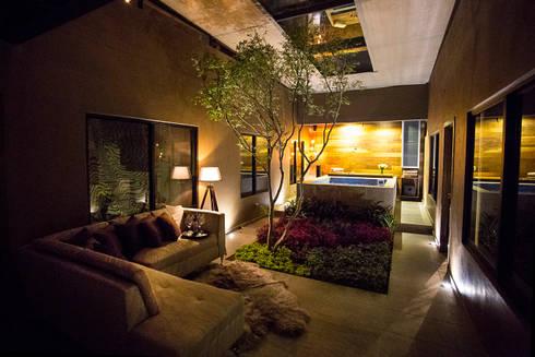 Casa bunker de con contenedores s a de c v homify for Jardines interiores de casas modernas