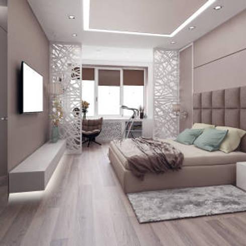 ห้องนอนสไตล์สบายตา:  ห้องนอน by Nantheera