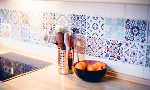 Portuguese Tile Stickers - Backsplash:   por MOONWALLSTICKERS.COM