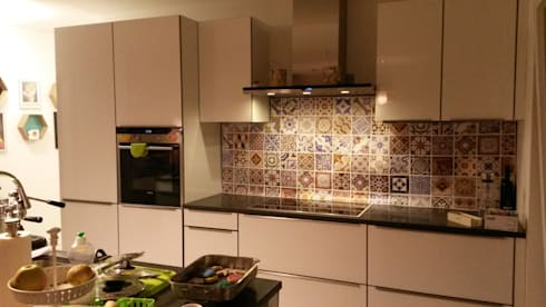 Customized Kitchen Backsplash With Portuguese Tiles Wall Art Por Moonwallstickers Com