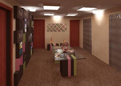 Lobby Olivo MX: Estudios y oficinas de estilo moderno por Perfil Arquitectónico