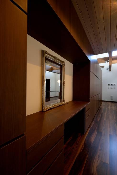 キッチンを囲う家: 株式会社 大岡成光建築事務所が手掛けたウォークインクローゼットです。