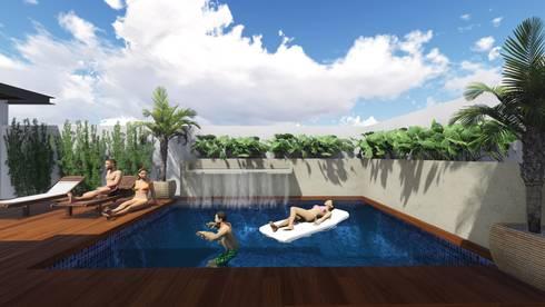 Residencia Santa Bárbara: Albercas de estilo moderno por TEKTÓNIKA arquitectura + diseño