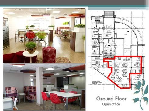 Makoya - Ground Floor - Open Offices: modern Study/office by Carne Interiors