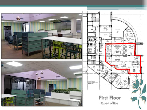 Makoya - First Floor - Open Offices: modern Study/office by Carne Interiors