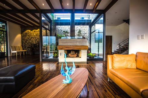 Sala, chimenea y jardín interior: Salas de estilo moderno por ICAZBALCETA Arquitectura y Diseño