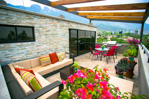 Terraza: Terrazas de estilo  por ICAZBALCETA Arquitectura y Diseño