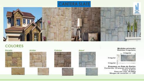 CANTERA SLATE CON BISEL: Paredes y pisos de estilo moderno por ENFOQUE CONSTRUCTIVO
