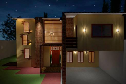 Fachada, vivienda unifamiliar: Casas de estilo moderno por Rbritointeriorismo