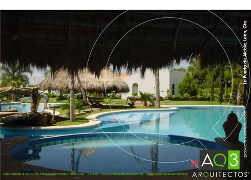 Residencia El Trébol:: Albercas de estilo rústico por AQ3 Arquitectos