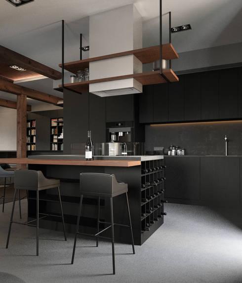 Минималистичный интерьер двухэтажного дома из клееного бруса для семейной пары: Кухни в . Автор – EcoHouse Group