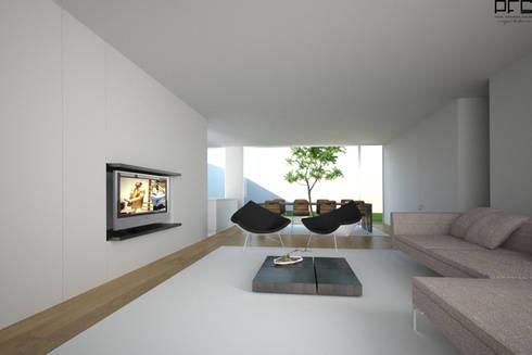 CASA BI-FAMILIAR AG_PÓVOA DE VARZIM_2011: Salas de estar minimalistas por PFS-arquitectura