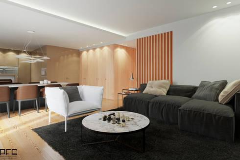 APARTAMENTO AD_PÓVOA DE VARZIM_2015: Salas de estar minimalistas por PFS-arquitectura