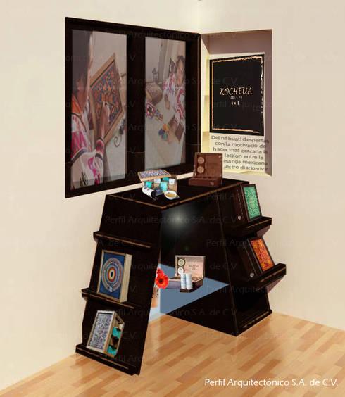Vista / Render Mueble exhibidor Kocheua: Oficinas y tiendas de estilo  por Perfil Arquitectónico