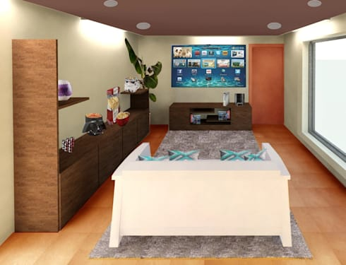 Sala de T.V.: Salas de estilo moderno por Perfil Arquitectónico