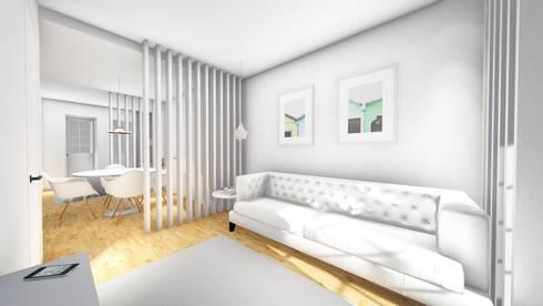 Sala de estar - Revisão de projecto: Salas de estar modernas por Arq. Duarte Carvalho