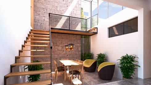 Interiores Comedor: Comedores de estilo moderno por Laboratorio Mexicano de Arquitectura