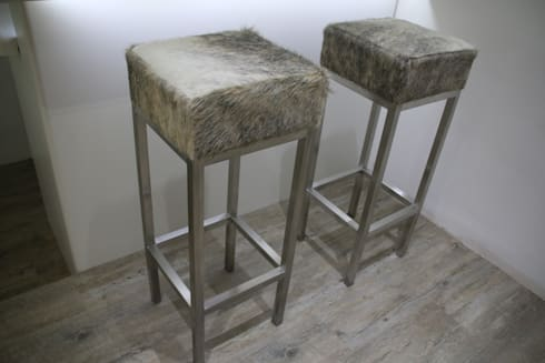 Grey And White Cowhide Bar And Kitchen Stools: Modern Dining Room By Hide  And Stitch