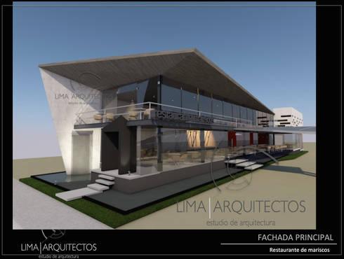 RESTAURANTE DE MARISCOS  Boca del Rio, Veracruz.: Casas de estilo moderno por Lima Arquitectos