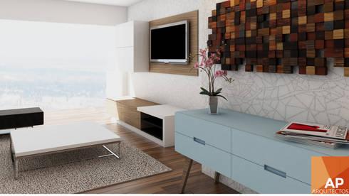 Sala TV: Salas de estilo moderno por AParquitectos