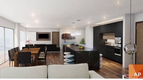 Cocina, Sala TV, comedor: Cocina de estilo  por AParquitectos
