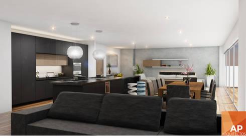 Comedor, cocina, sala: Comedor de estilo  por AParquitectos