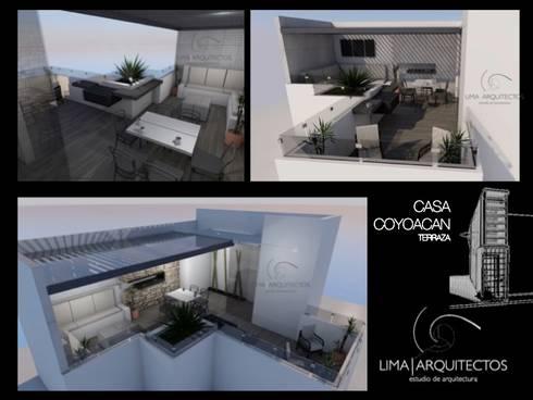 CASA COYOACAN: Terrazas de estilo  por Lima Arquitectos