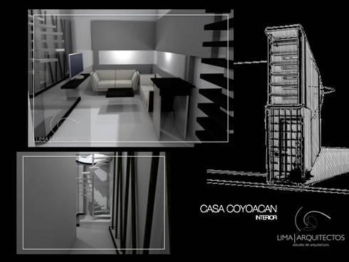 CASA COYOACAN: Salas de estilo minimalista por Lima Arquitectos