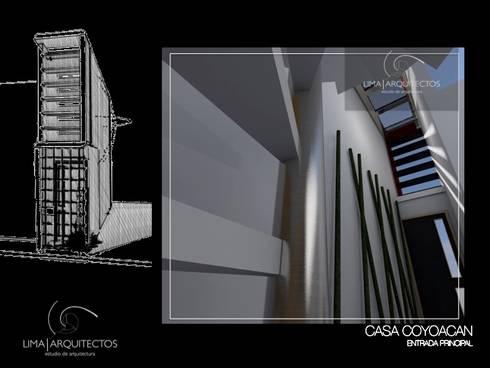 CASA COYOACAN: Pasillos y recibidores de estilo  por Lima Arquitectos