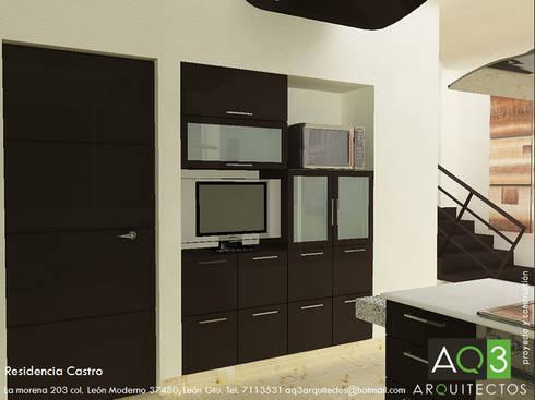 Residencia Castro: Sala multimedia de estilo  por AQ3 Arquitectos
