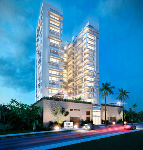 Edificio QB Fachada nocturna:  de estilo  por AV arquitectos