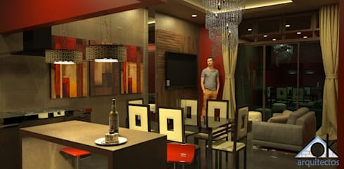 Sala - Comedor: Salas / recibidores de estilo moderno por Okarq