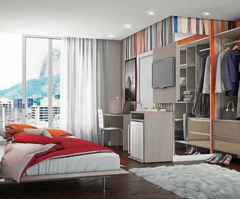 Cores e espaços.: Quartos modernos por Obr&Lar - Remodelação de Interiores