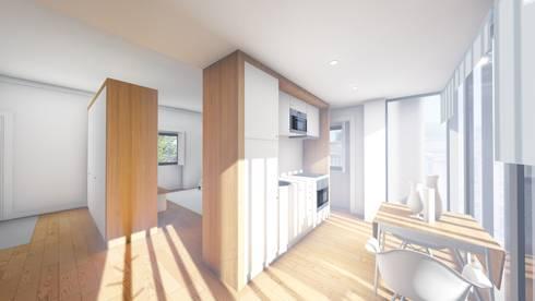 Interior - Apartamento tipo - Cozinha: Cozinhas modernas por Arq. Duarte Carvalho