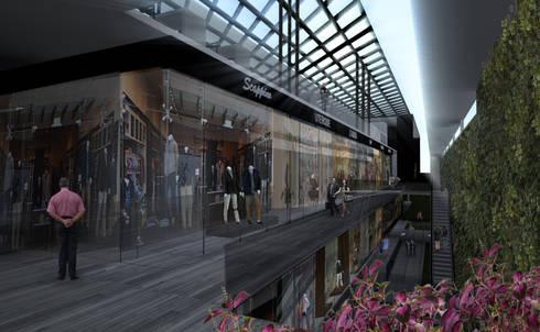 Interior del centro comercial : Centros Comerciales de estilo  por Arquitectos M253