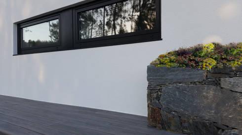 Fachada principal - pormenor: Jardins campestres por Hugo Pereira Arquitetos