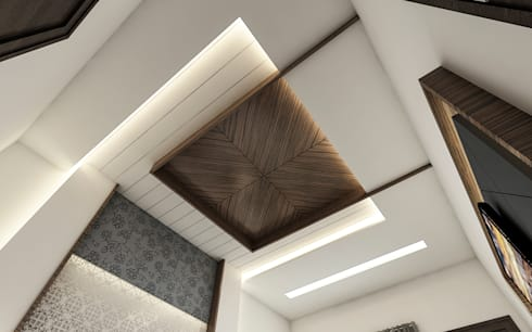 celling with wooden work:   by Square Designs