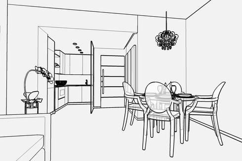 Casa E - progettazione soggiorno con cucina a vista di Carla Costa ...