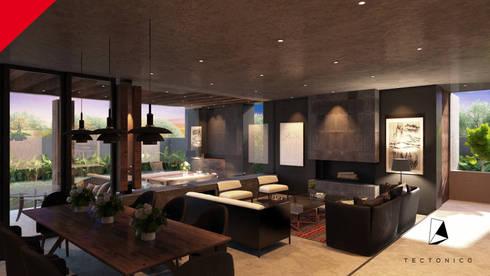 CASA CELAYA: Salas de estilo moderno por Tectónico