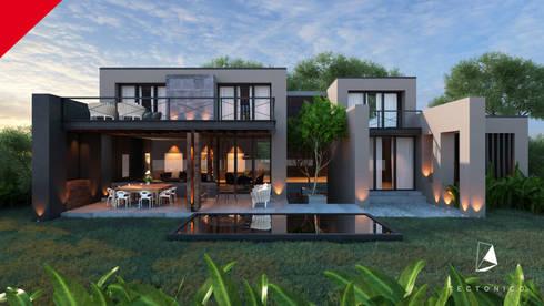 CASA CELAYA: Casas de estilo moderno por Tectónico