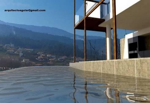 Piscina Montanha: Piscinas mediterrânicas por Arquitecto Aguiar