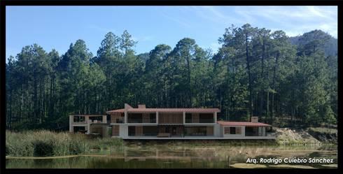 Residencia en el Lago: Casas de estilo moderno por Arq. Rodrigo Culebro Sánchez