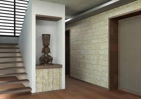 Residencia en el Lago: Pasillos y recibidores de estilo  por Arq. Rodrigo Culebro Sánchez