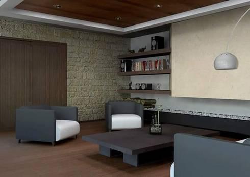Residencia en el Lago: Salas de estilo moderno por Arq. Rodrigo Culebro Sánchez
