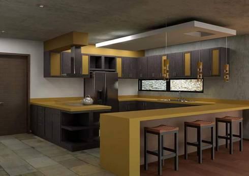 Residencia en el Lago: Cocinas de estilo moderno por Arq. Rodrigo Culebro Sánchez