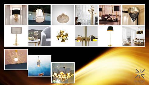 Gold lamps: Casa  por LUZZA by AIPI - Portuguese Lighting Association