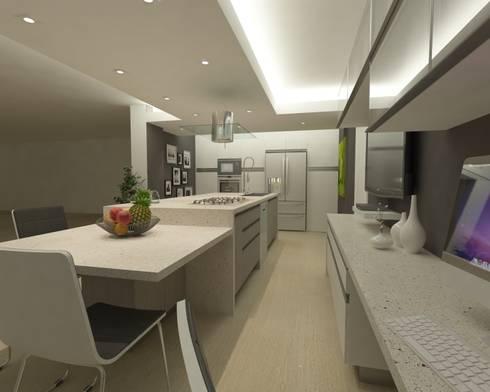 Cocina en Quinta EPE: Cocinas de estilo minimalista por OPFA Diseños y Arquitectura