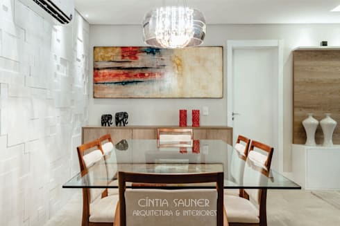 sala de jantar: Sala de jantar  por Cintia Sauner Arquitetura e interiores